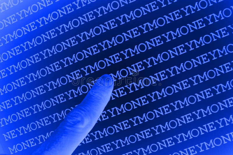 Pointing at money background