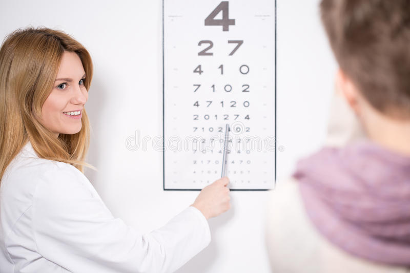 Pointing the number. Young pretty female ophthalmologist pointing the number on chart stock images