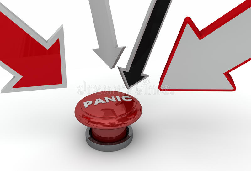 Pointing at panic button royalty free illustration