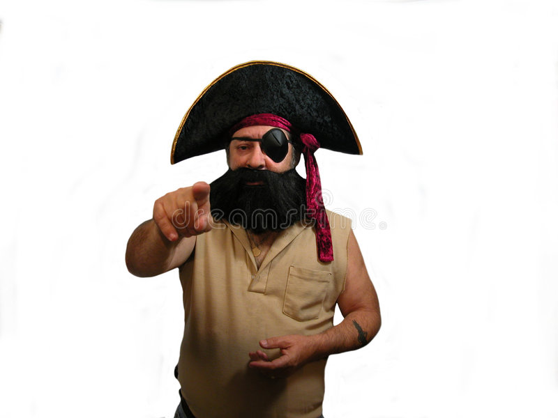 Pointing Pirate stock photo