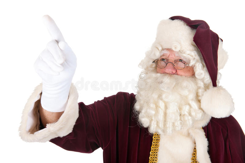 Pointing Santa Claus. Portrait of the real Santa Claus pointing royalty free stock photography