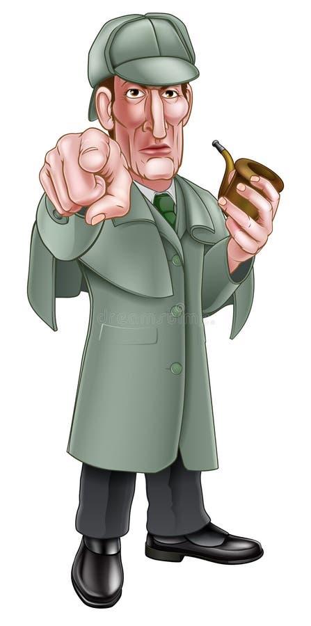 Free Pointing Sherlock Holmes Cartoon Royalty Free Stock Photos - 86429848