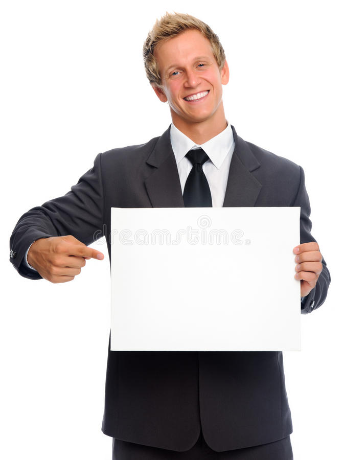 Pointing sign man royalty free stock image