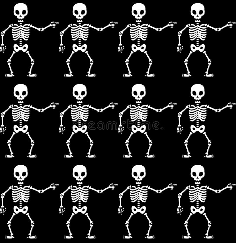 Pointing Skeletons Pattern Royalty Free Stock Photo