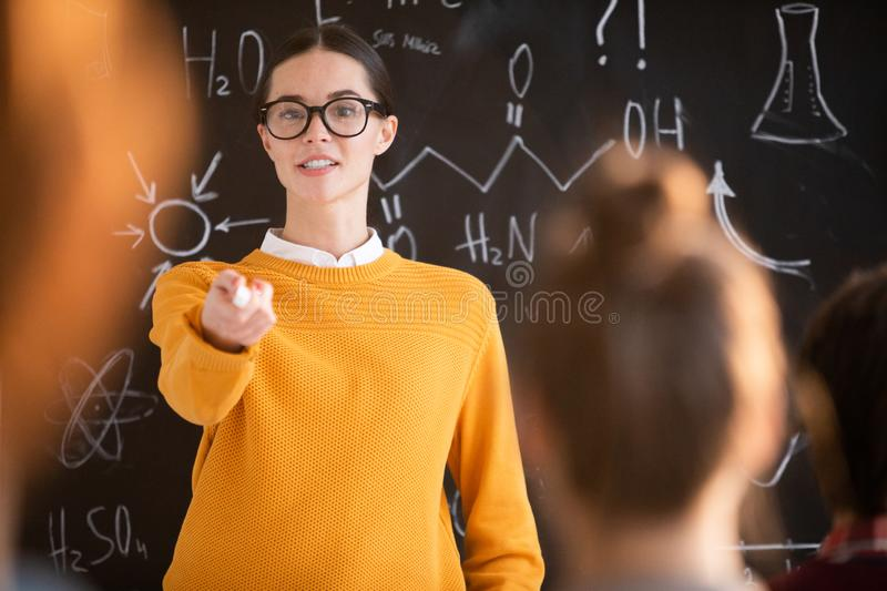 Pointing at student royalty free stock photo