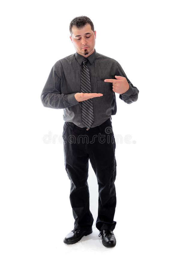Pointing to blank product. Man in shirt and tie. Man in shirt and tie holding hands and pointing for product placement royalty free stock images