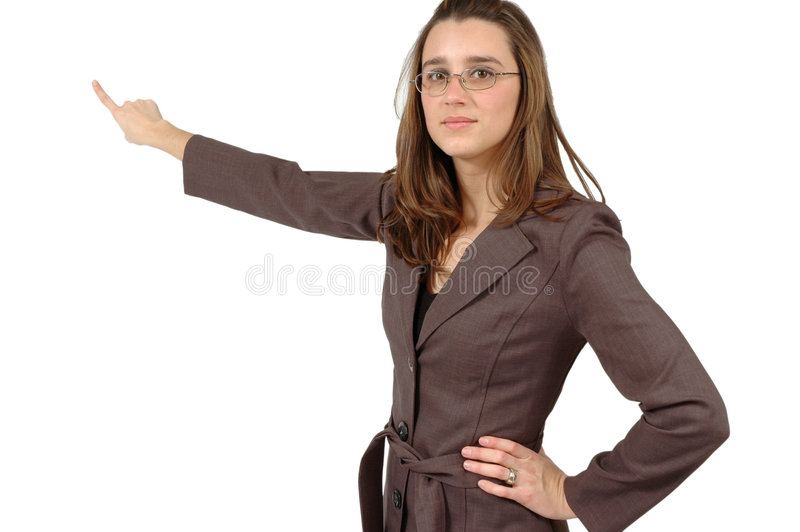 Pointing to the board. Business woman points to the object behind her. Place your advertisment there stock images