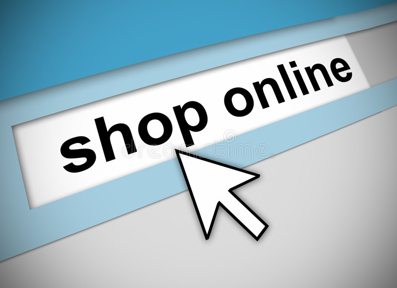 Pointing to shop online. Graphic of address bar on computer with cursor arrow, pointing to SHOP ONLINE
