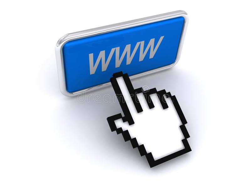 Pointing to world wide web vector illustration