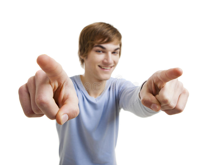 Pointing to you royalty free stock photo