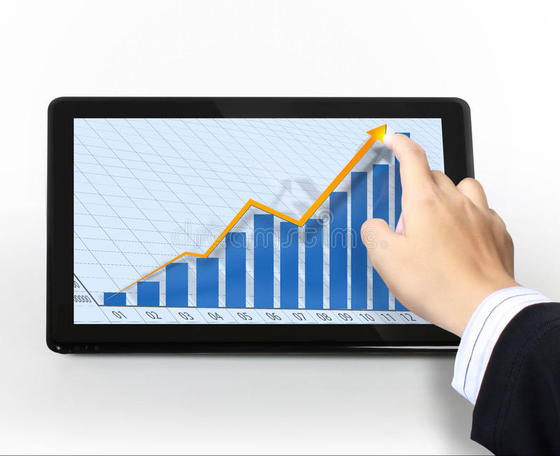 Pointing on touch screen graph on a tablet. Businessmen, hand pointing on touch screen graph on a tablet stock photos