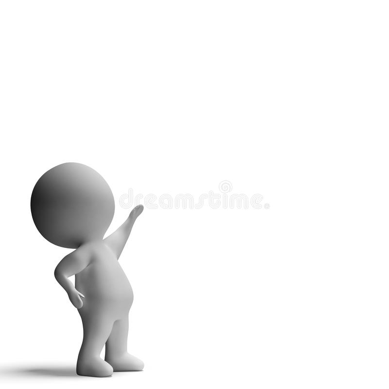 Pointing Up 3d Character Has Hand Raised Royalty Free Stock Photo