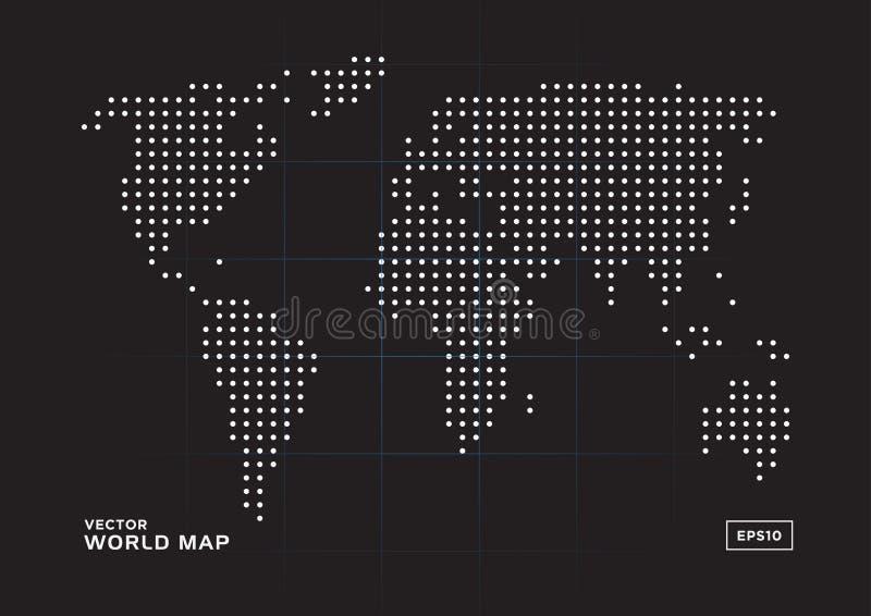 Points blancs de carte du monde avec le fond noir illustration libre de droits