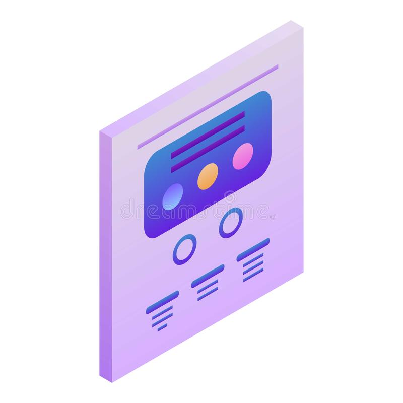 Points chart icon, isometric style stock illustration