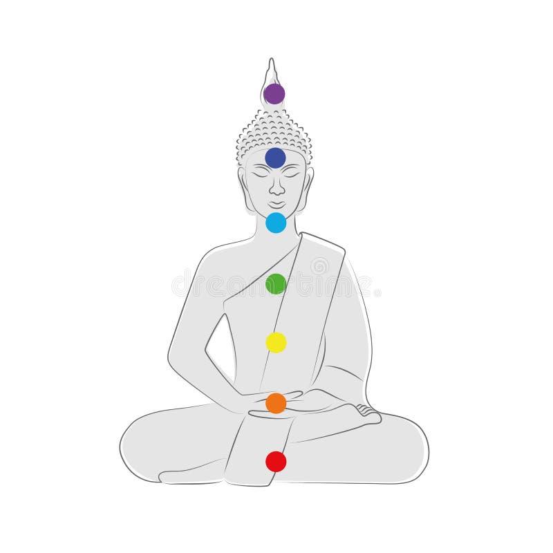 Points colorés de chakra de silhouette de Bouddha illustration de vecteur