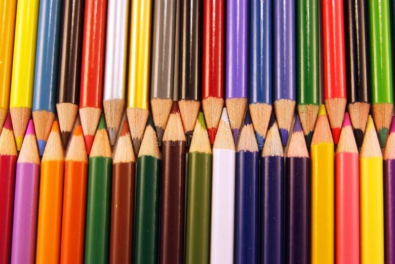 Points colorés de crayon photos stock