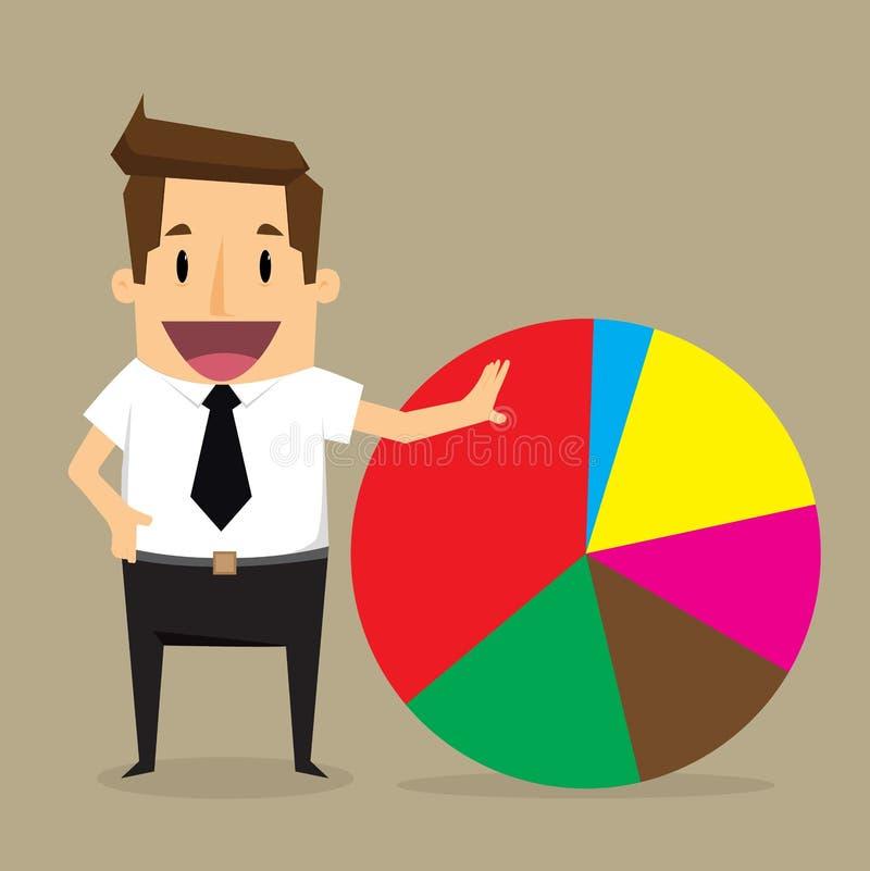 Points d'homme d'affaires au diagramme du bénéfice illustration stock