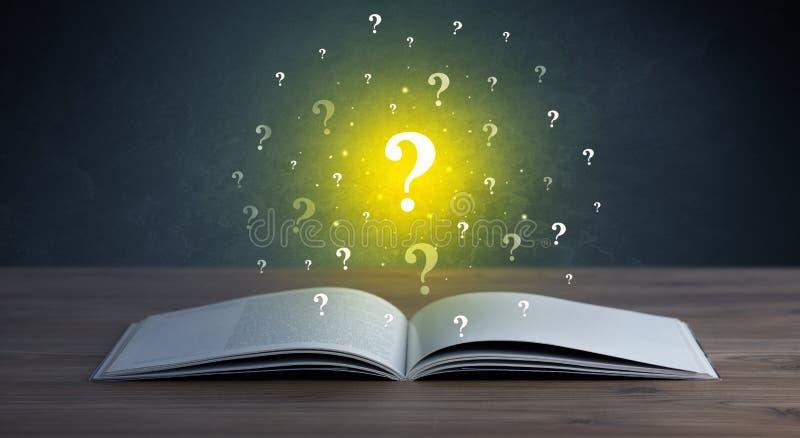 Points d'interrogation au-dessus de livre illustration de vecteur