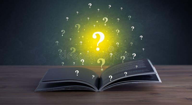 Points d'interrogation au-dessus de livre illustration libre de droits