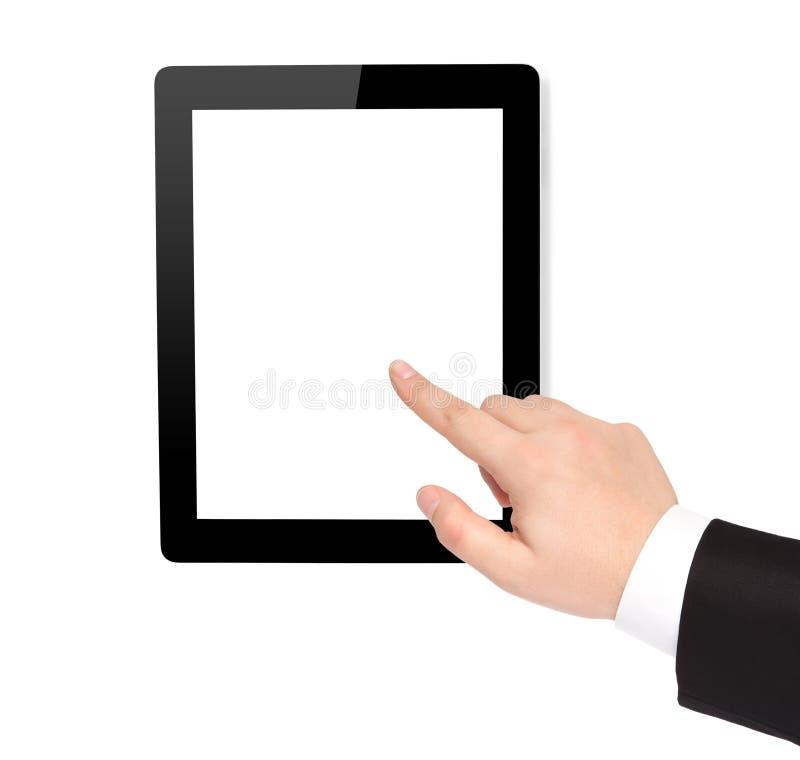 Points d'isolement de tablette et de main d'ordinateur à l'écran photographie stock libre de droits