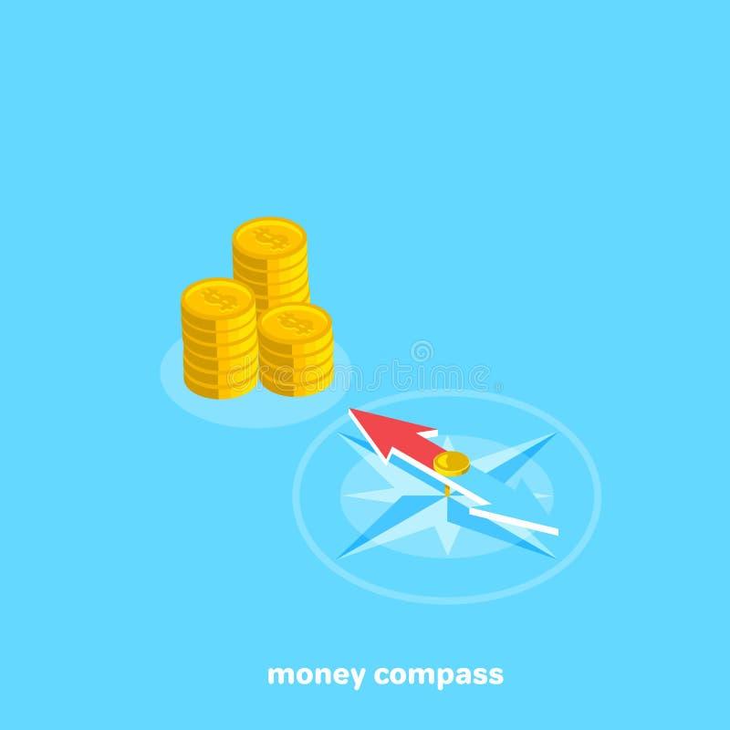 Points de boussole à un endroit avec l'argent illustration stock