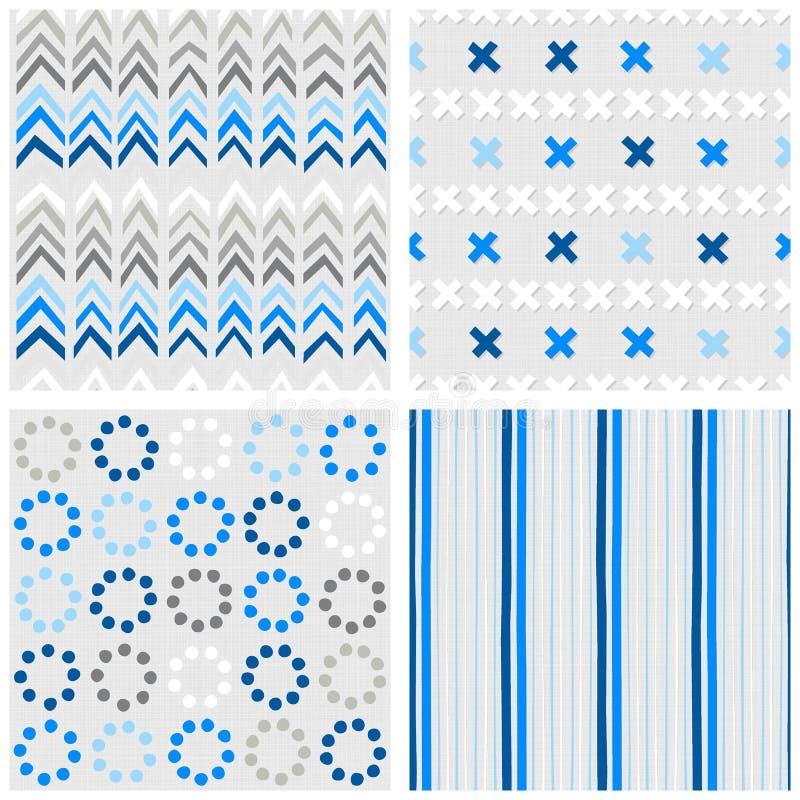 Points de croix de Chevron et ensemble sans couture bleu de modèle de rayures illustration libre de droits
