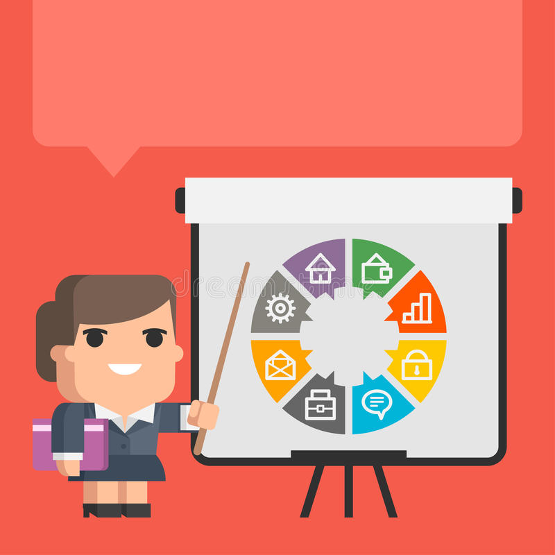 Points de femme d'affaires sur le concept de secousse-diagramme illustration stock