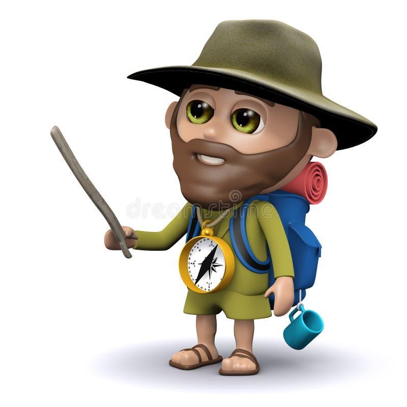 points de l'explorateur 3d avec un bâton illustration stock