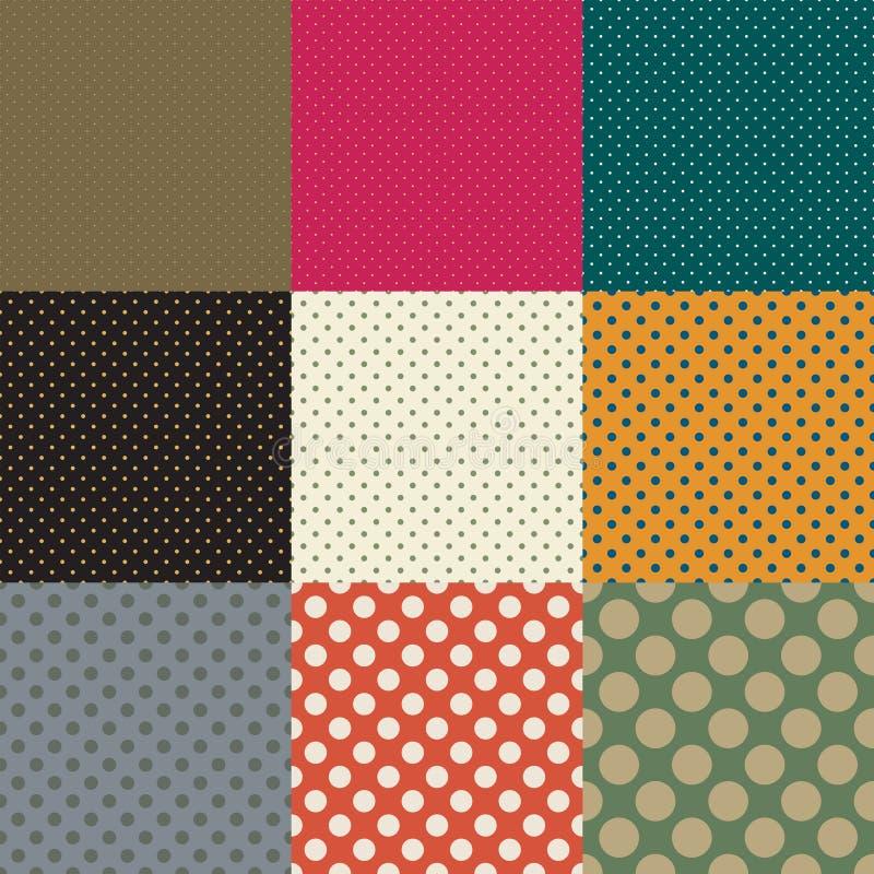 Points de polka Ensemble de modèles sans couture de vecteur illustration de vecteur