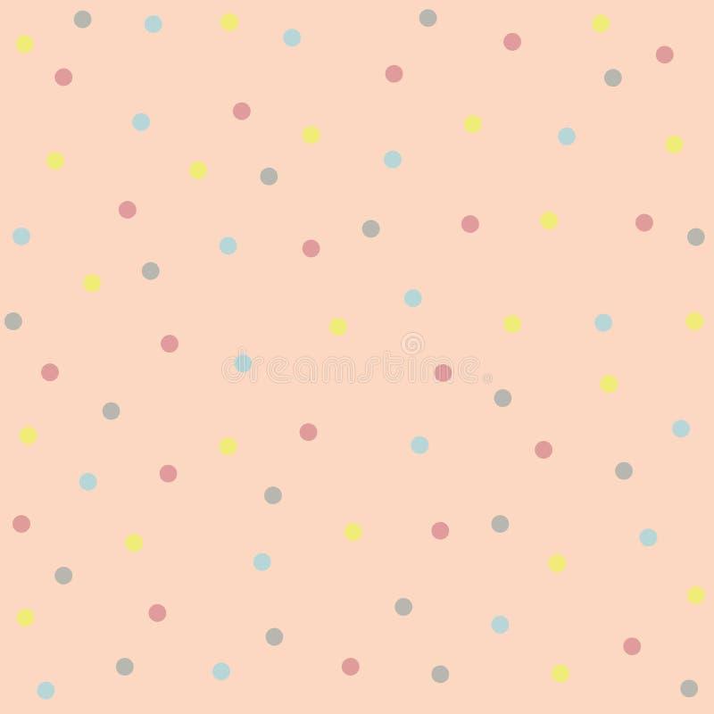 Points de polka multicolores sur un fond de pêche Texture sans joint de fond illustration stock