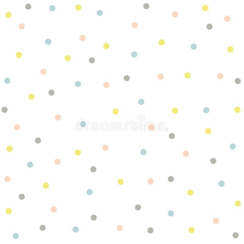 Points de polka multicolores sur un fond de pêche Texture sans joint de fond illustration de vecteur