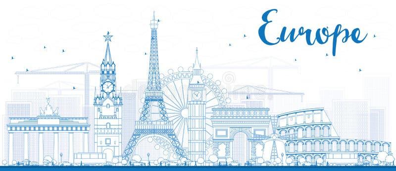 Points de repère célèbres en Europe Illustration de vecteur d'ensemble illustration de vecteur