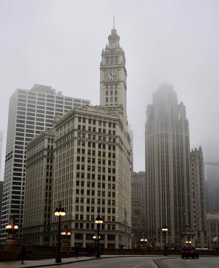 Points de repère de Chicago un matin de ternissement #1 photo stock