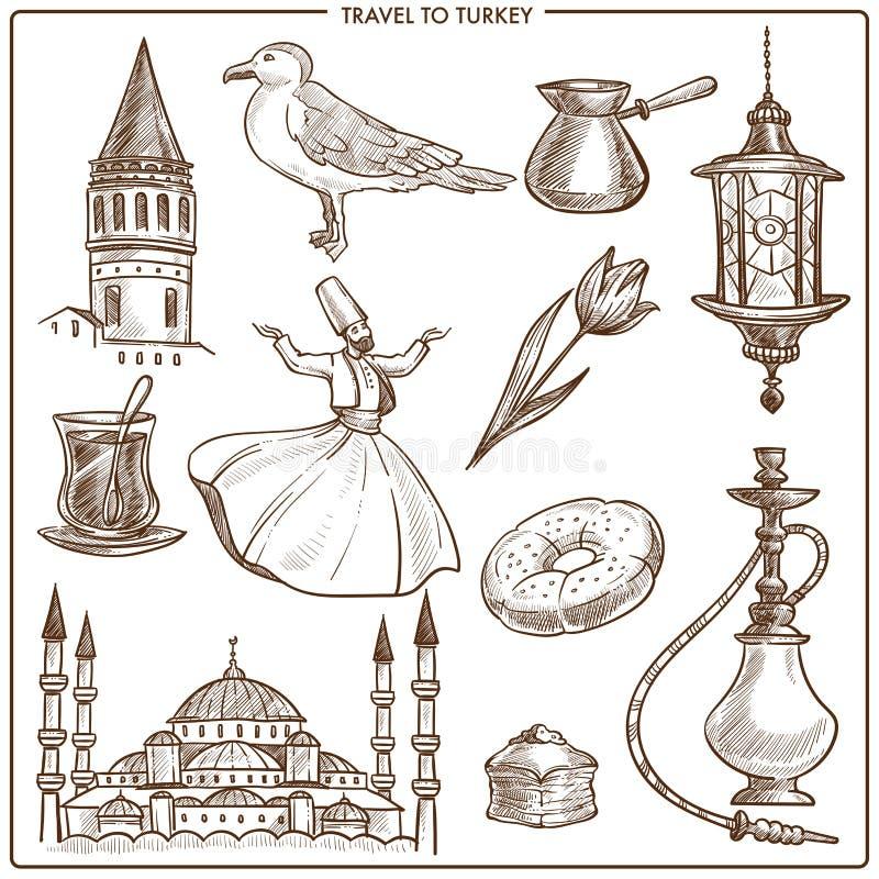 Points de repère de croquis de symboles et de vecteur de voyage de la Turquie illustration stock