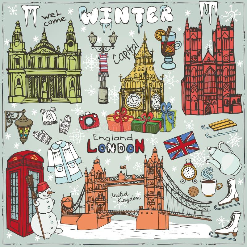 Points de repère d'hiver de Londres réglés Griffonnage coloré peu précis illustration libre de droits