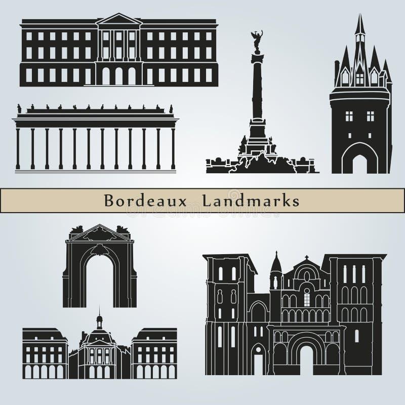 Points de repère de Bordeaux illustration de vecteur