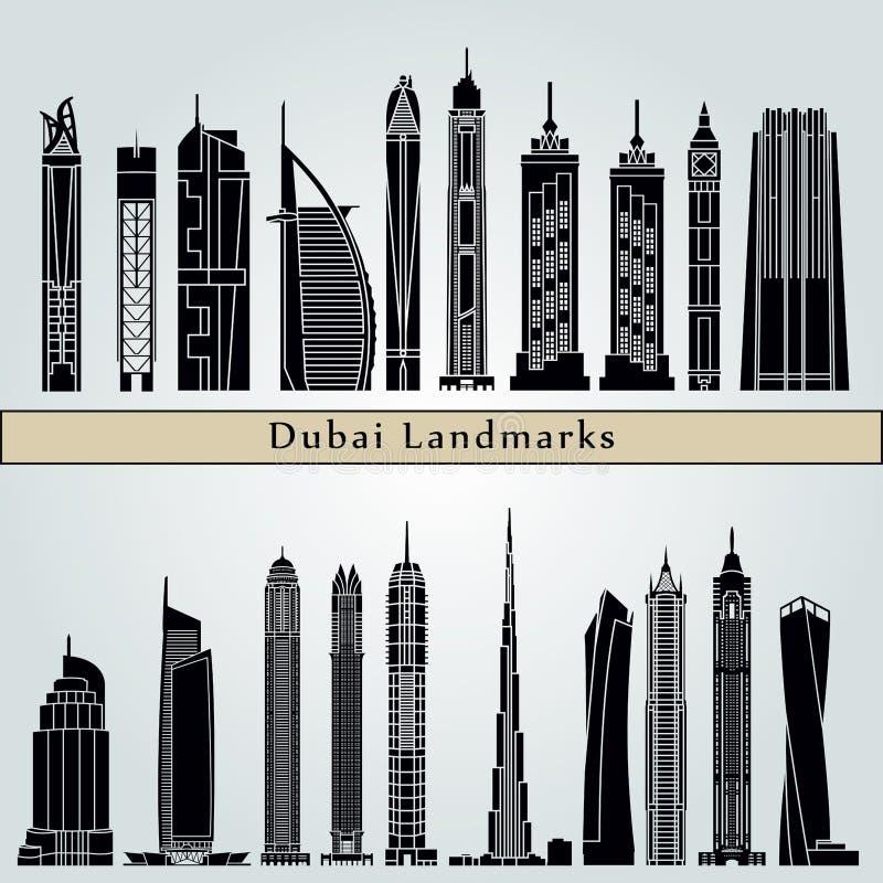 Points de repère de Dubaï V2 illustration stock