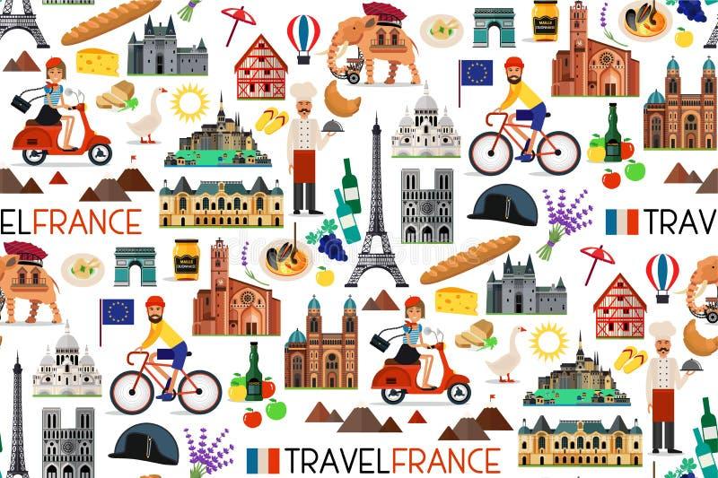 Points de repère de Frances et carte de voyage Illustration de vecteur illustration de vecteur