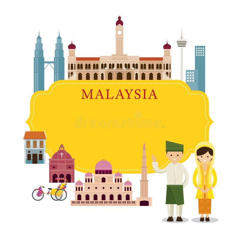 Points de repère de la Malaisie, les gens dans l'habillement traditionnel, cadre illustration libre de droits