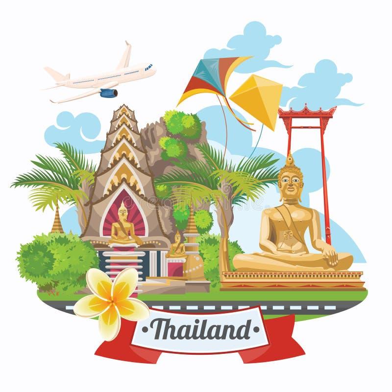 Points de repère de la Thaïlande de voyage avec l'avion Icônes thaïlandaises de vecteur illustration libre de droits