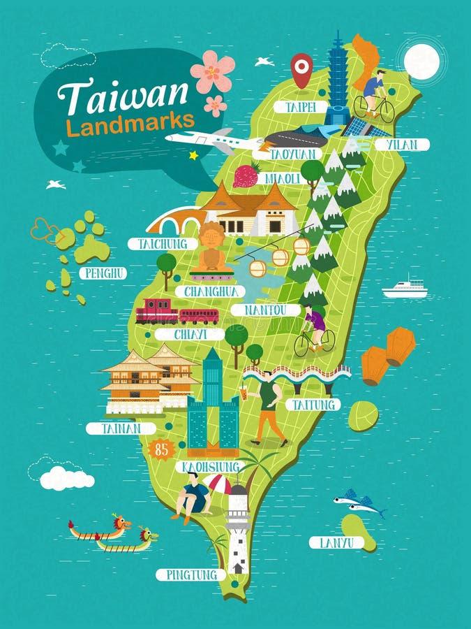 Points de repère de Taïwan illustration libre de droits