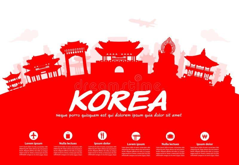 Points de repère de voyage de la Corée illustration stock