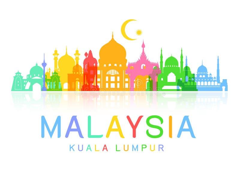 Points de repère de voyage de la Malaisie illustration stock
