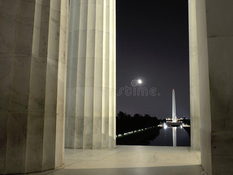 Points de repère de Washington DC à la lumière de lune photographie stock libre de droits