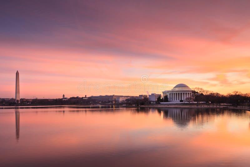 Points de repère de Washington DC au lever de soleil photographie stock libre de droits