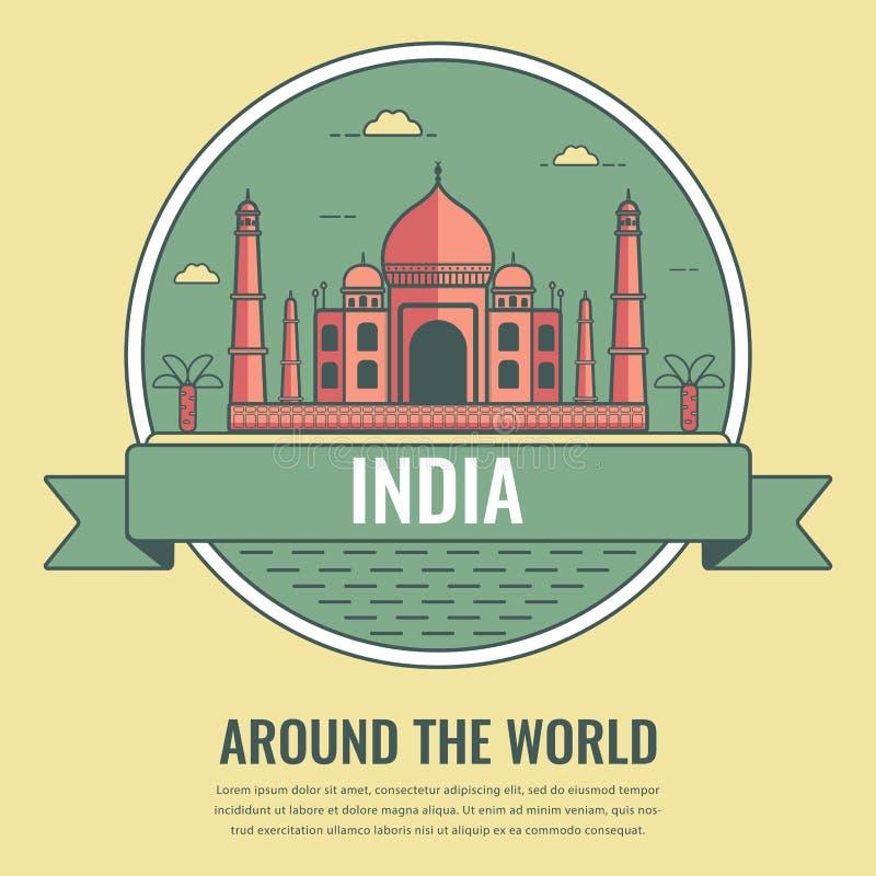 Points de repère du monde l'Inde Fond de voyage et de tourisme Style de schéma Vecteur illustration libre de droits