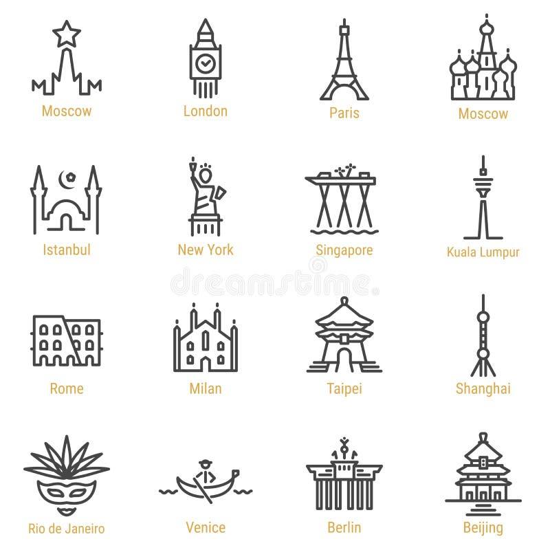 Points de repère du monde - ligne icône de vecteur réglée - partie I illustration stock