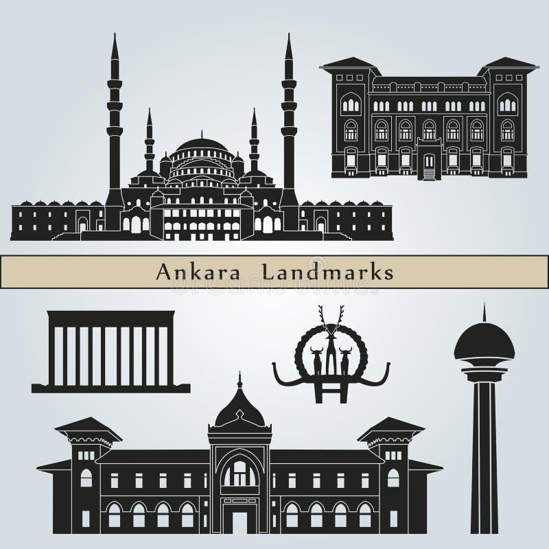 Points de repère et monuments d'Ankara illustration libre de droits
