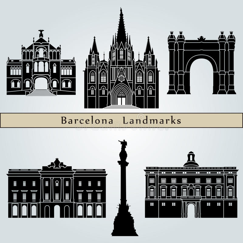 Points de repère et monuments de Barcelone illustration stock
