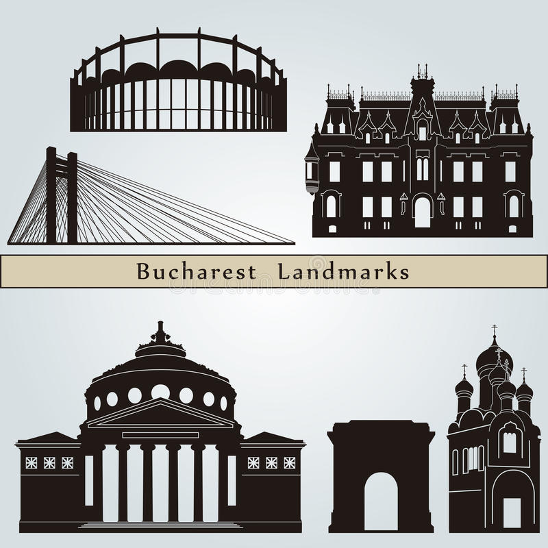 Points de repère et monuments de Bucarest illustration libre de droits